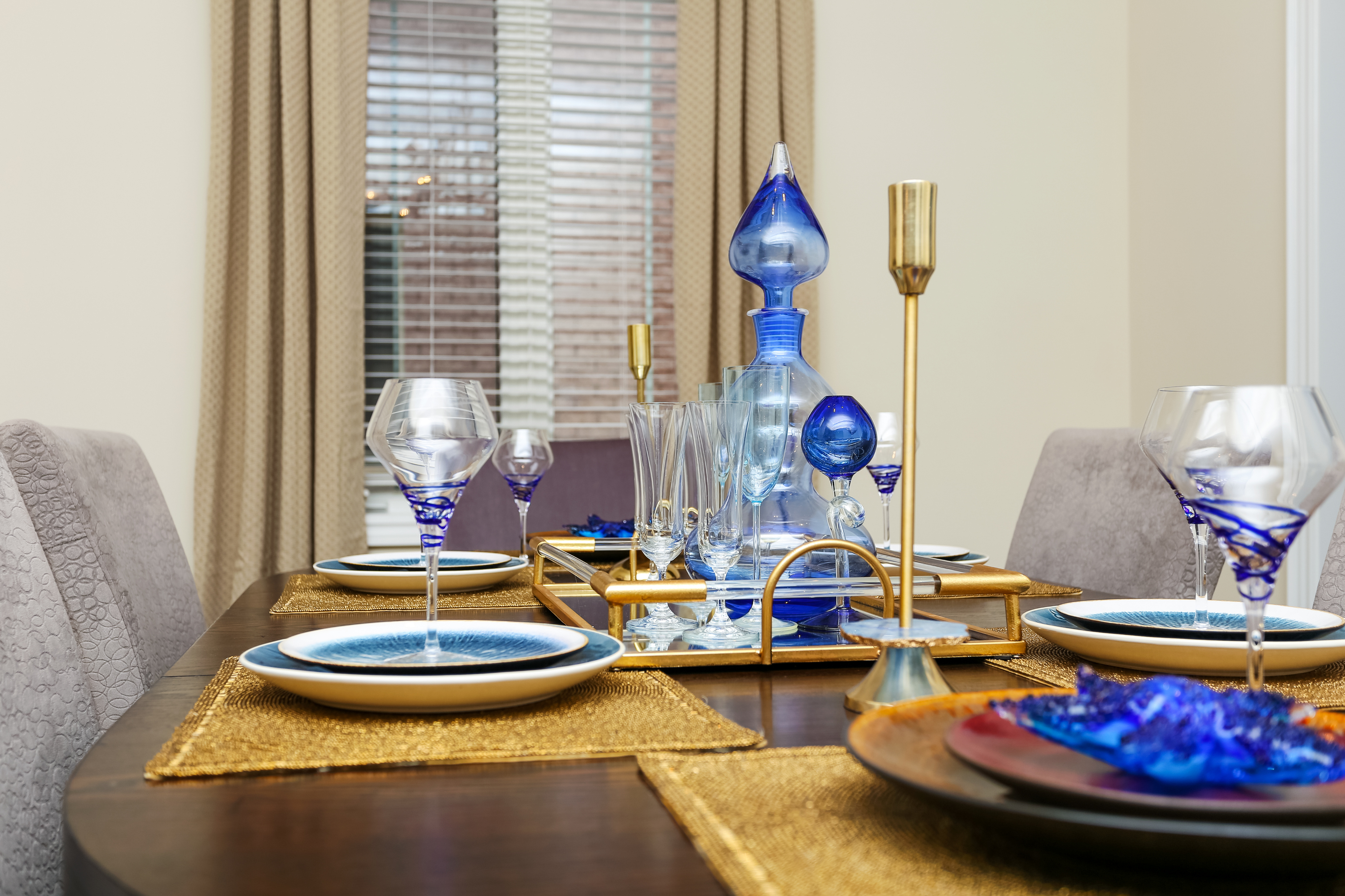 Dining Room setting with blue accents
